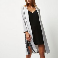 Lace Grey Satin Duster River Island
