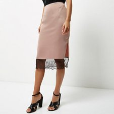 Lace trim satin skirt River Island