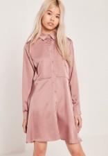 Pink satin shirt dress Missguided