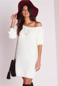 yzy-look-missguided-off-shoulder-dress-in-cream